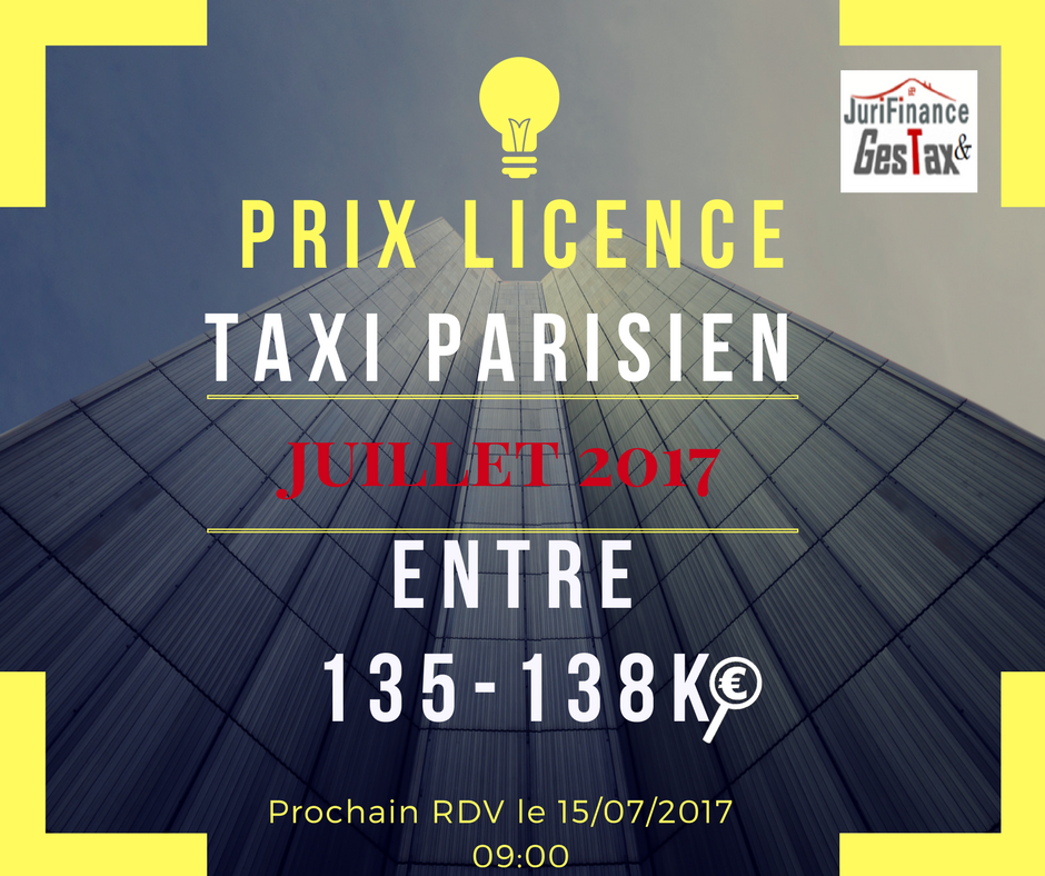 Annonce prix licence taxi parisien juillet 2017