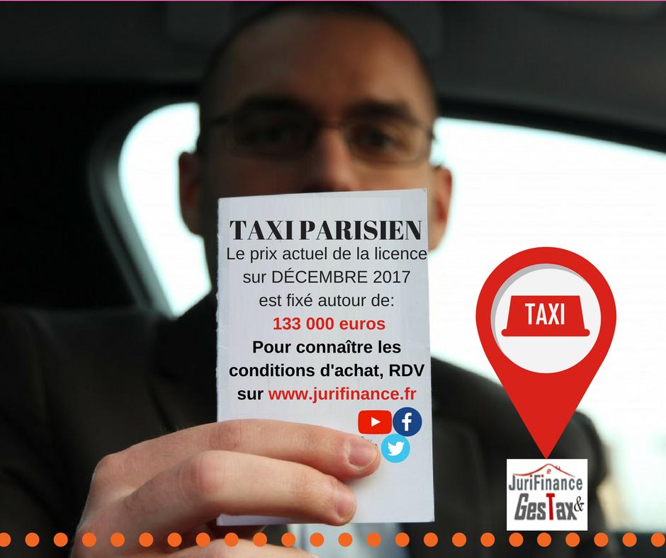 ANNONCE DU PRIX DE LA LICENCE TAXI DE DÉCEMBRE 2017
